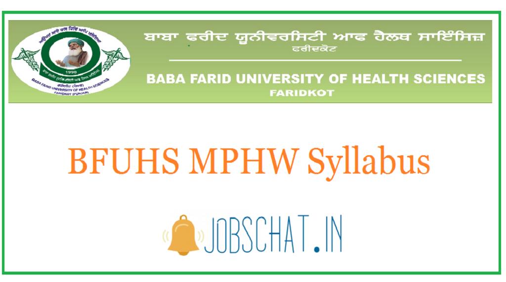BFUHS MPHW Syllabus