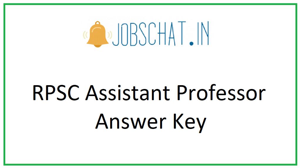 RPSC Assistant Professor Answer Key