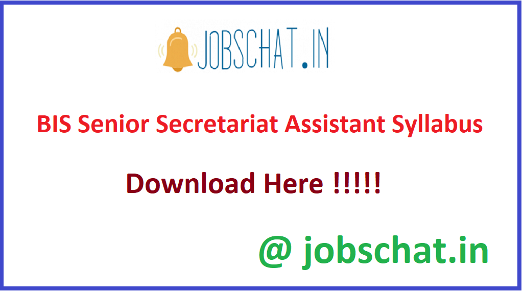 BIS Senior Secretariat Assistant Syllabus