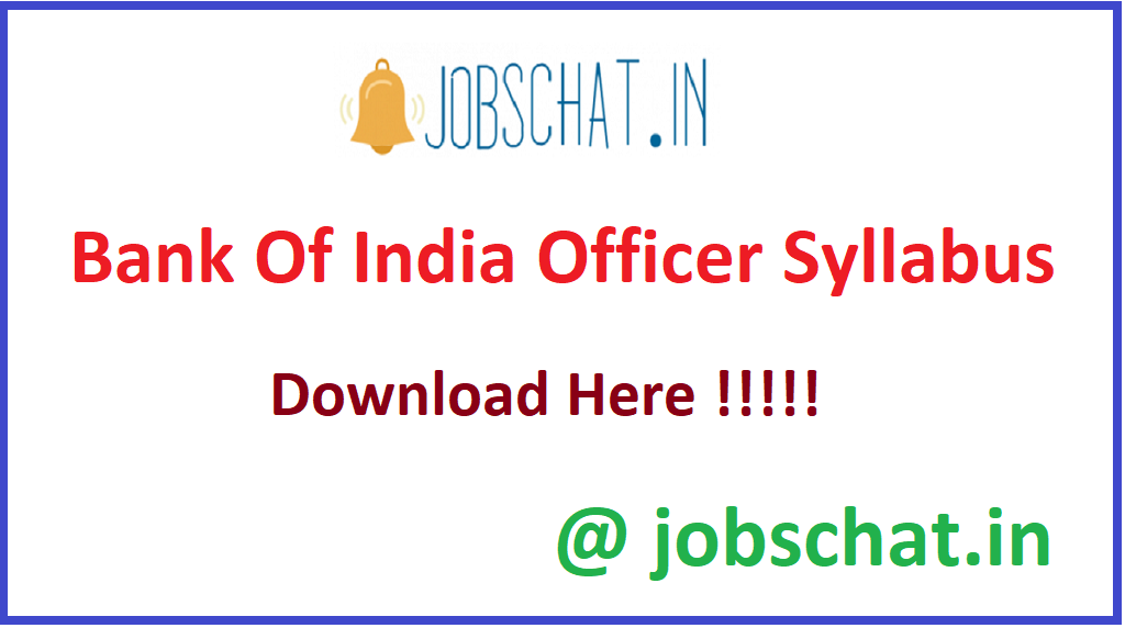 Bank Of India Officer Syllabus