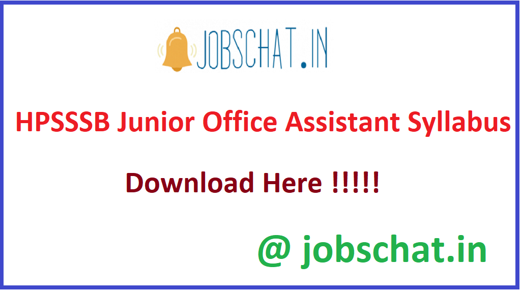 HPSSSB Junior Office Assistant Syllabus