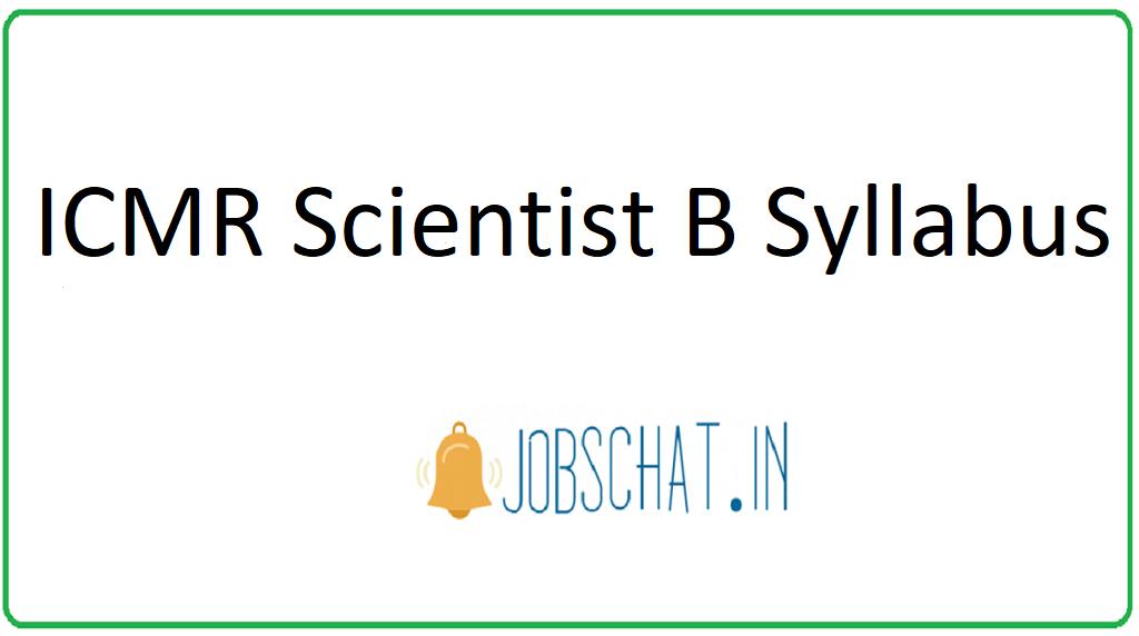 ICMR Scientist B Syllabus
