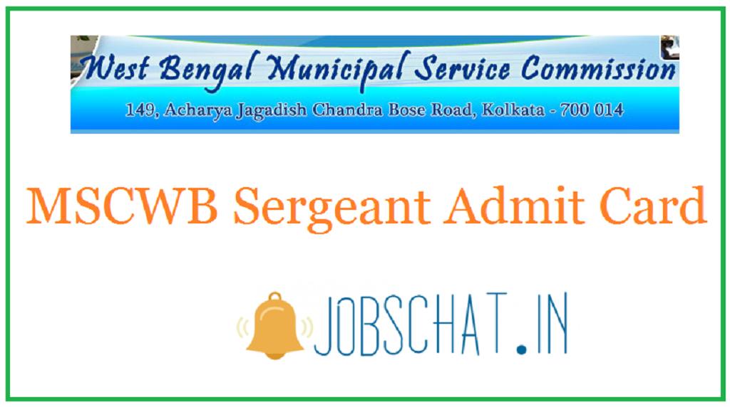 MSCWB Sergeant Admit Card