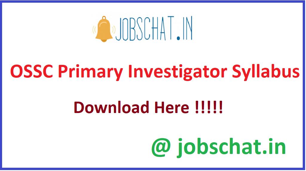 OSSC Primary Investigator Syllabus