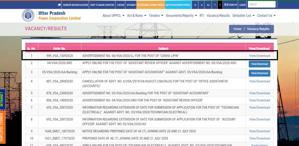 UPPCL Account Clerk Recruitment Notification