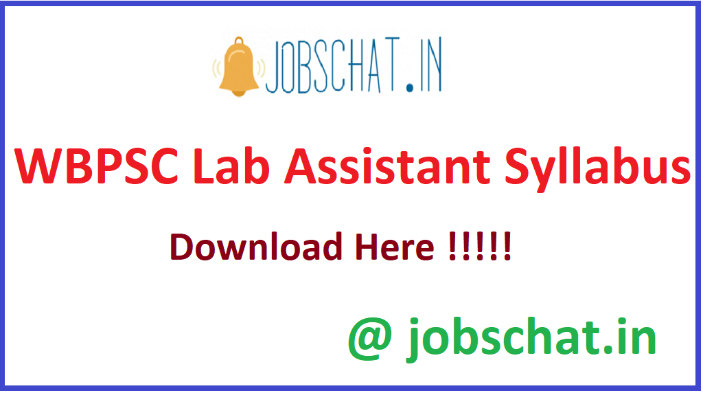 WBPSC Lab Assistant Syllabus