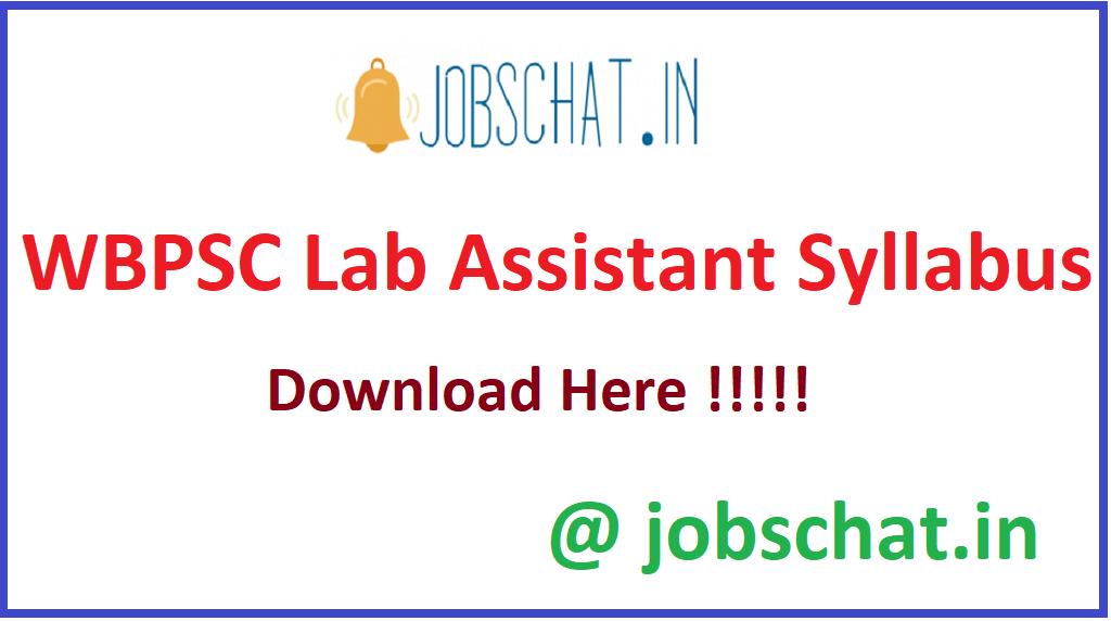 WBPSC Lab Assistant Syllabus