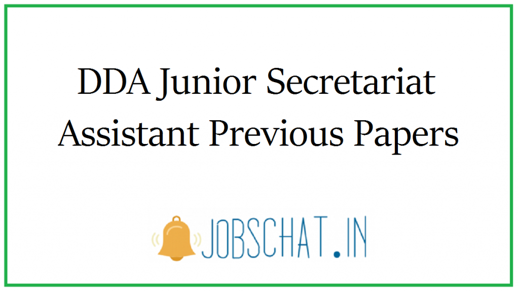 DDA Junior Secretariat Assistant Previous Papers