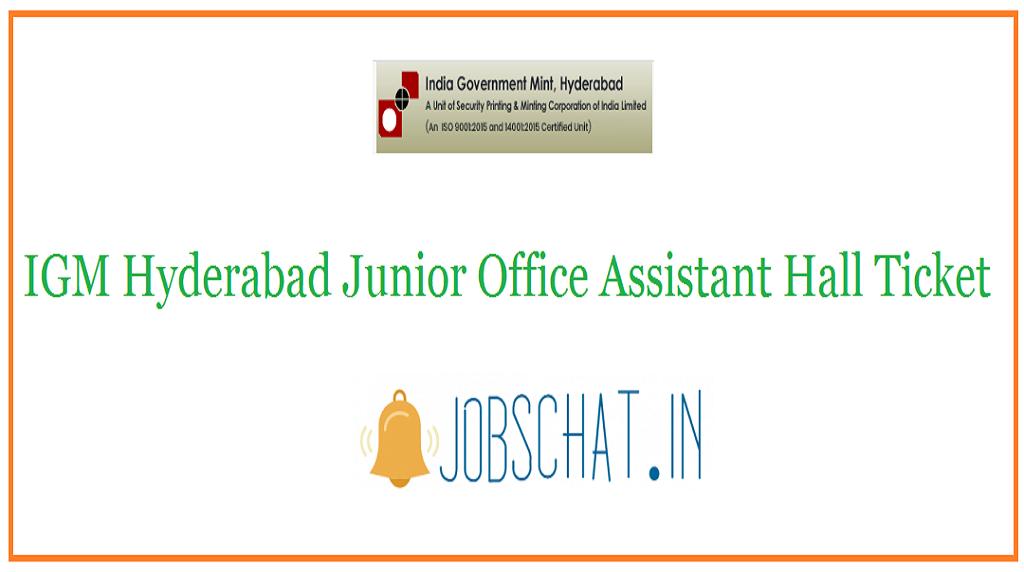 IGM Hyderabad Junior Office Assistant Hall Ticket
