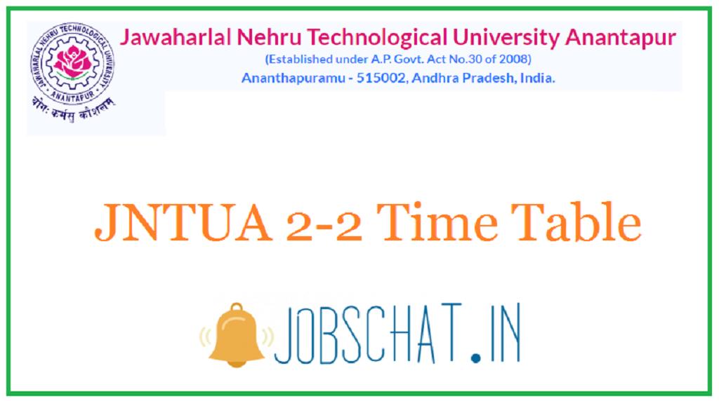 JNTUA 2-2 Time Table