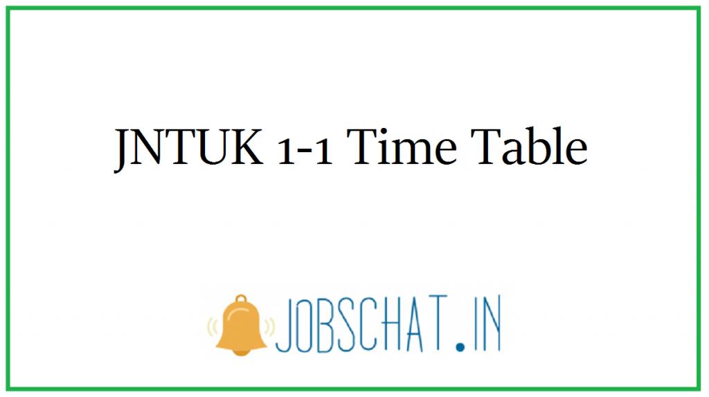 JNTUK 1-1 Time Table