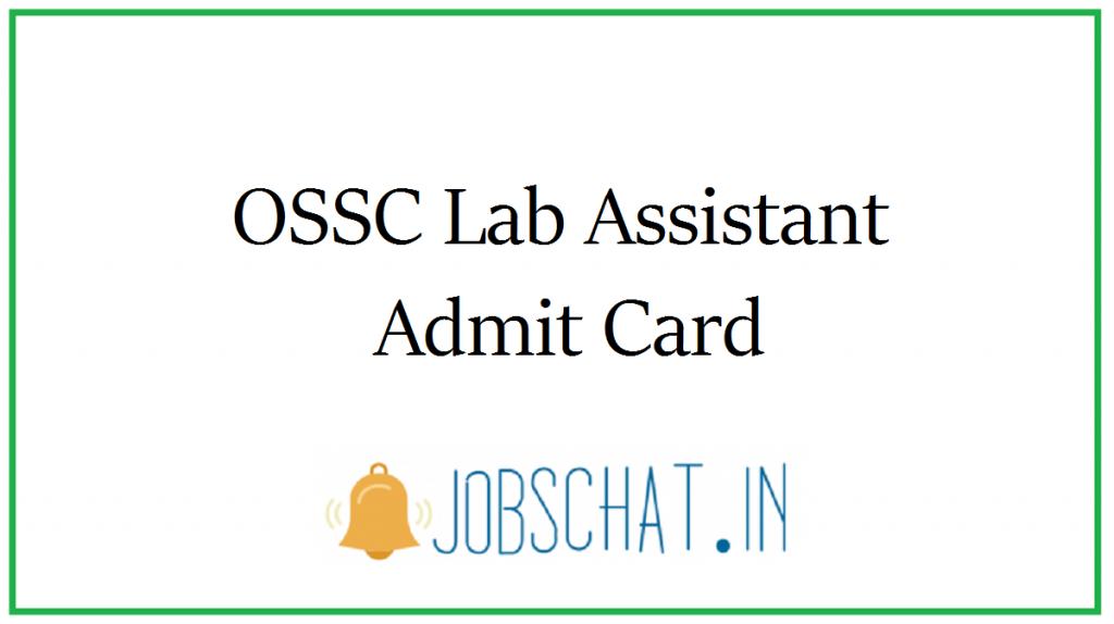 OSSC Lab Assistant Admit Card