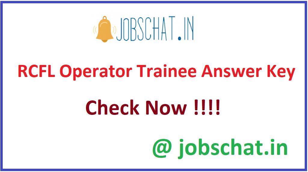 RCFL Operator Trainee Answer Key