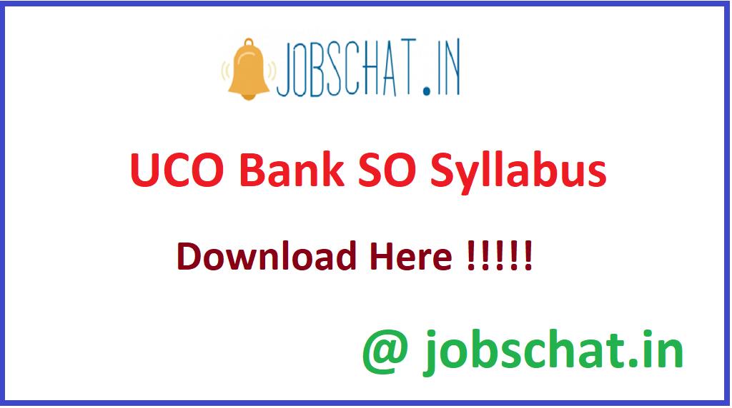 UCO Bank SO Syllabus