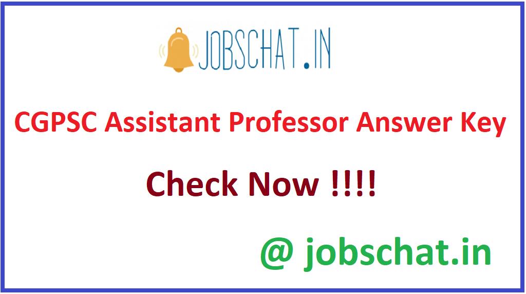 CGPSC Assistant Professor Answer Key