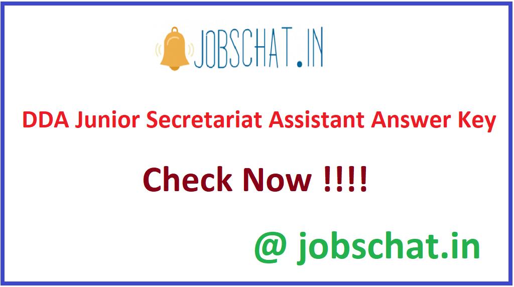 DDA Junior Secretariat Assistant Answer Key