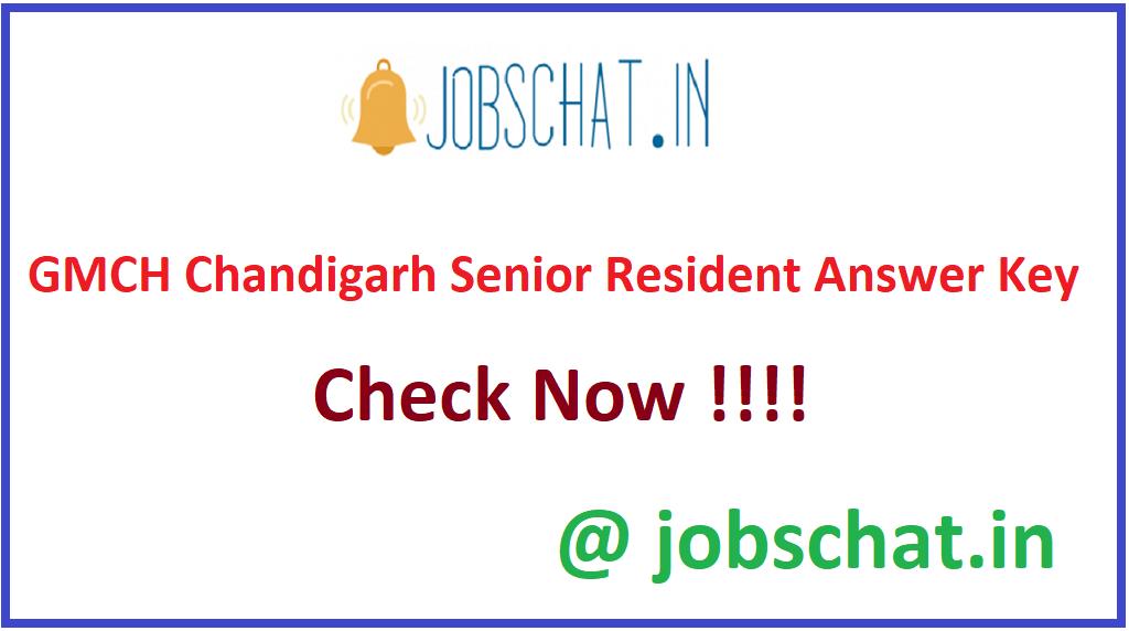 GMCH Chandigarh Senior Resident Answer Key