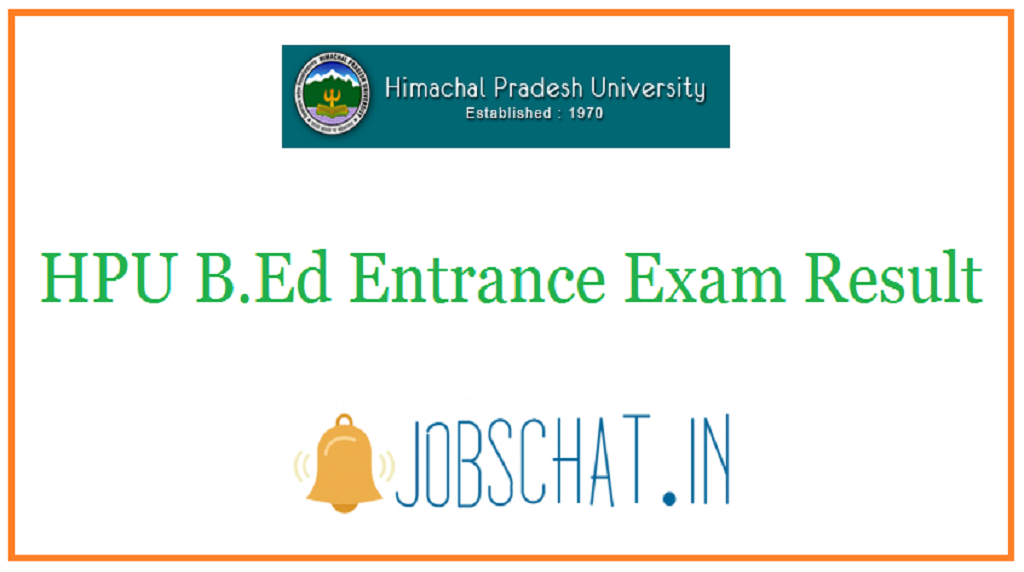 HPU B.Ed Entrance Exam Result
