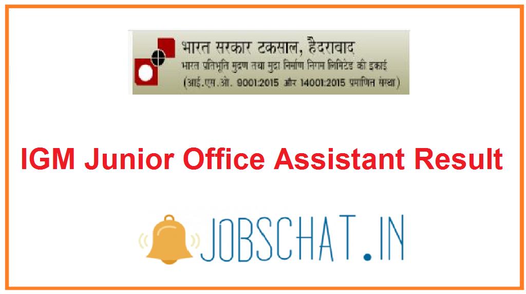 IGM Junior Office Assistant Result