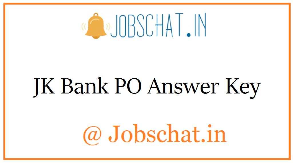 JK Bank PO Answer Key
