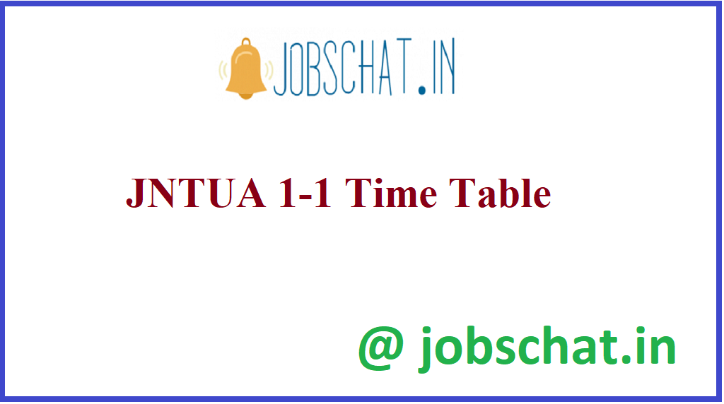 JNTUA 1-1 Time Table