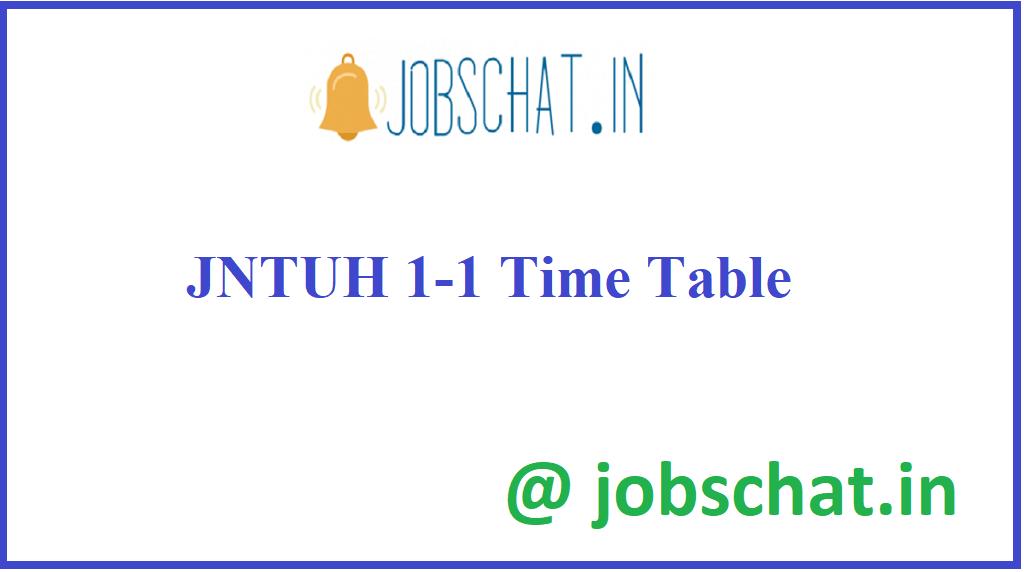 JNTUH 1-1 Time Table