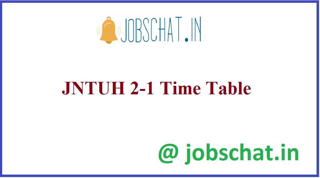 JNTUH 2-1 Time Table
