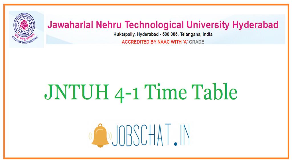 JNTUH 4-1 Time Table