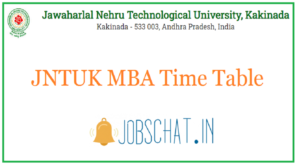 JNTUK MBA Time Table