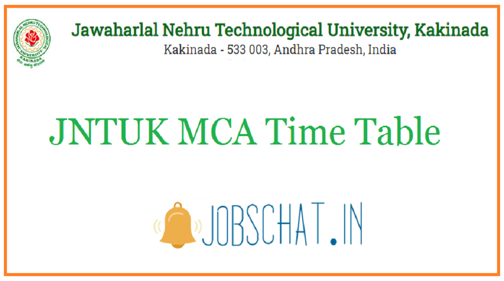 JNTUK MCA Time Table