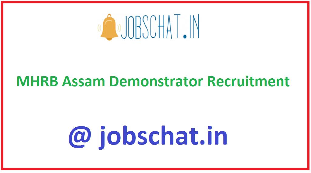 MHRB Assam Demonstrator Recruitment