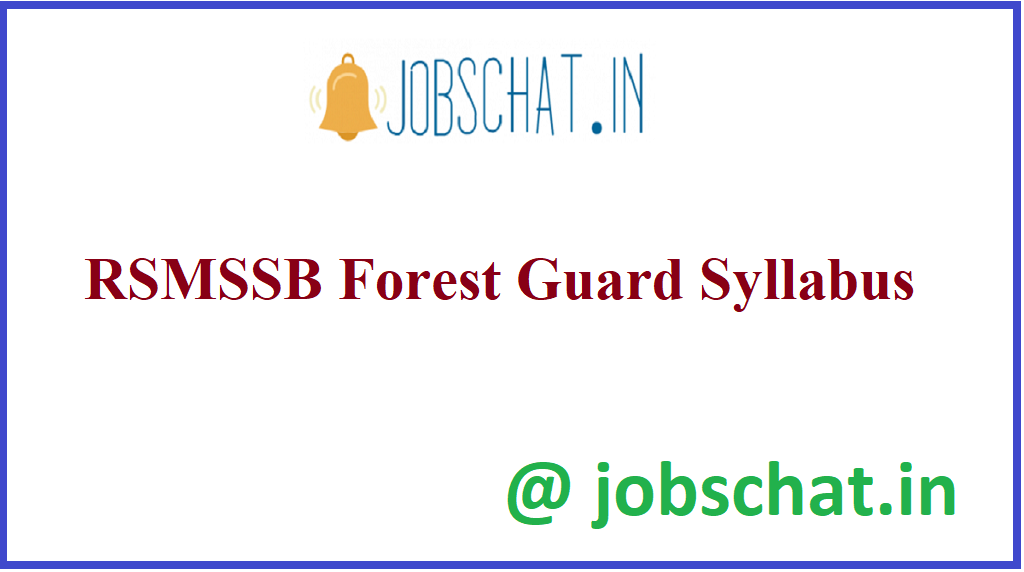 RSMSSB Forest Guard Syllabus
