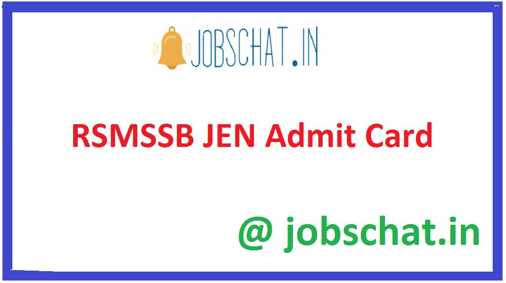 RSMSSB JEN Admit Card
