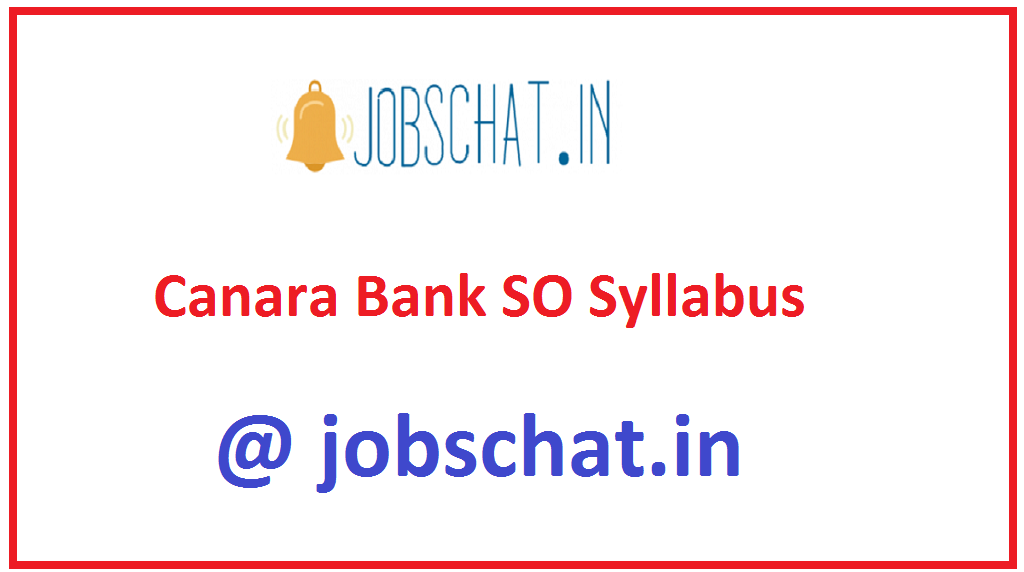 Canara Bank SO Syllabus
