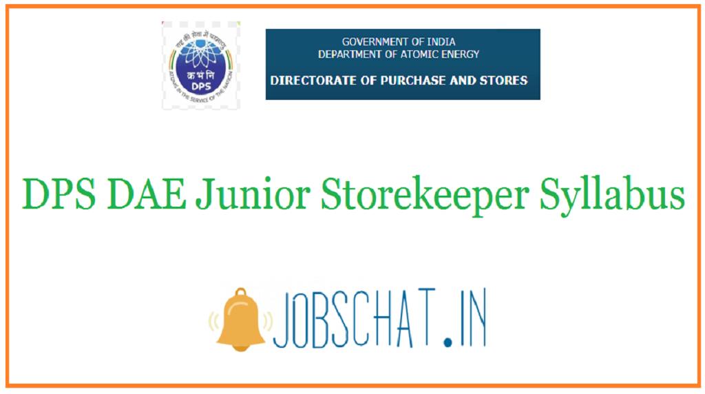 DPS DAE Junior Storekeeper Syllabus