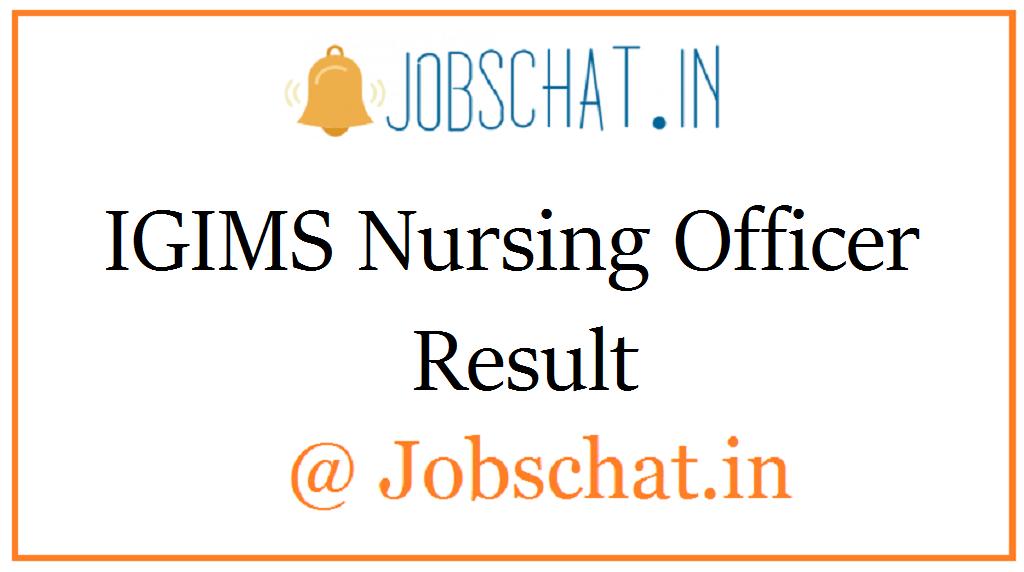 IGIMS Nursing Officer Result