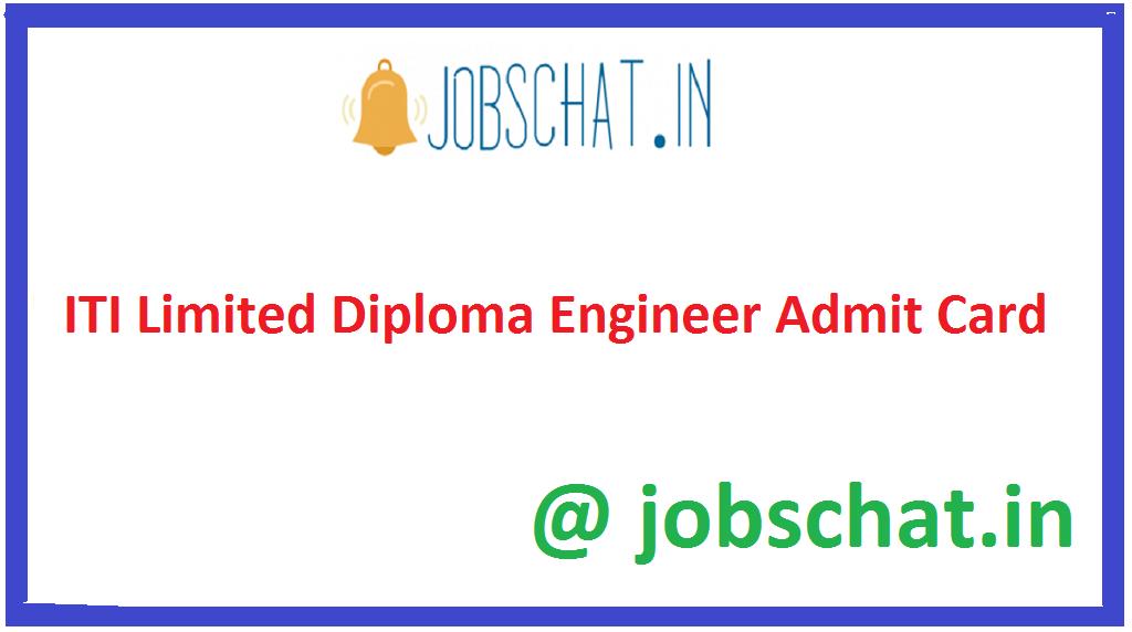 ITI Limited Diploma Engineer Admit Card