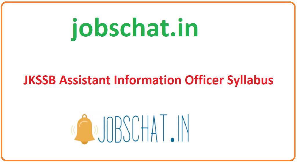 JKSSB Assistant Information Officer Syllabus