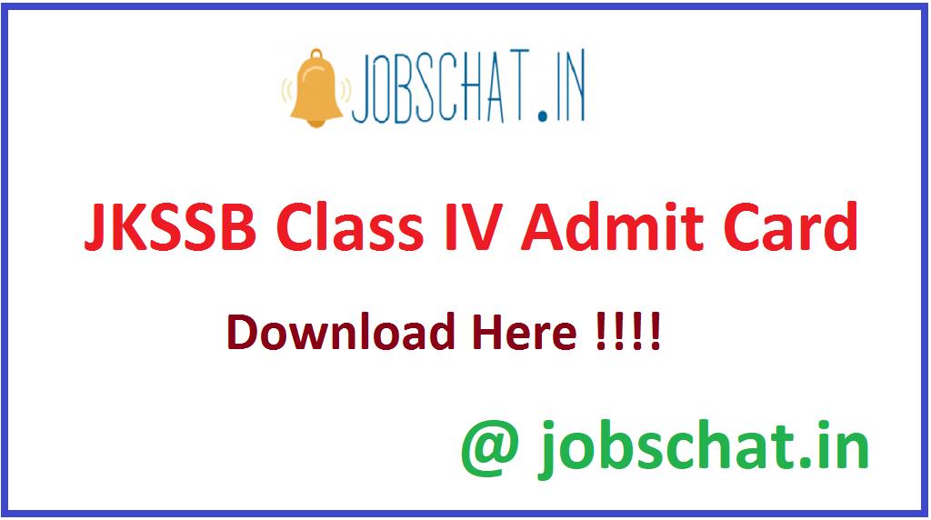 JKSSB Class IV Admit Card