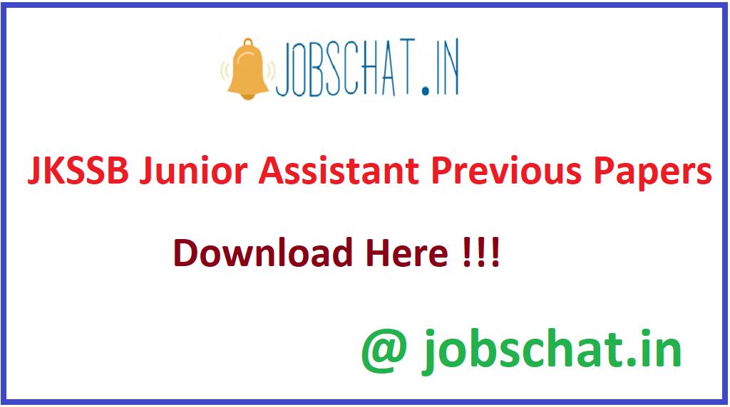 JKSSB Junior Assistant Previous Papers