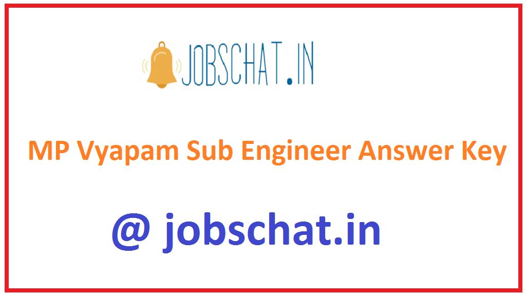 MP Vyapam Sub Engineer Answer Key