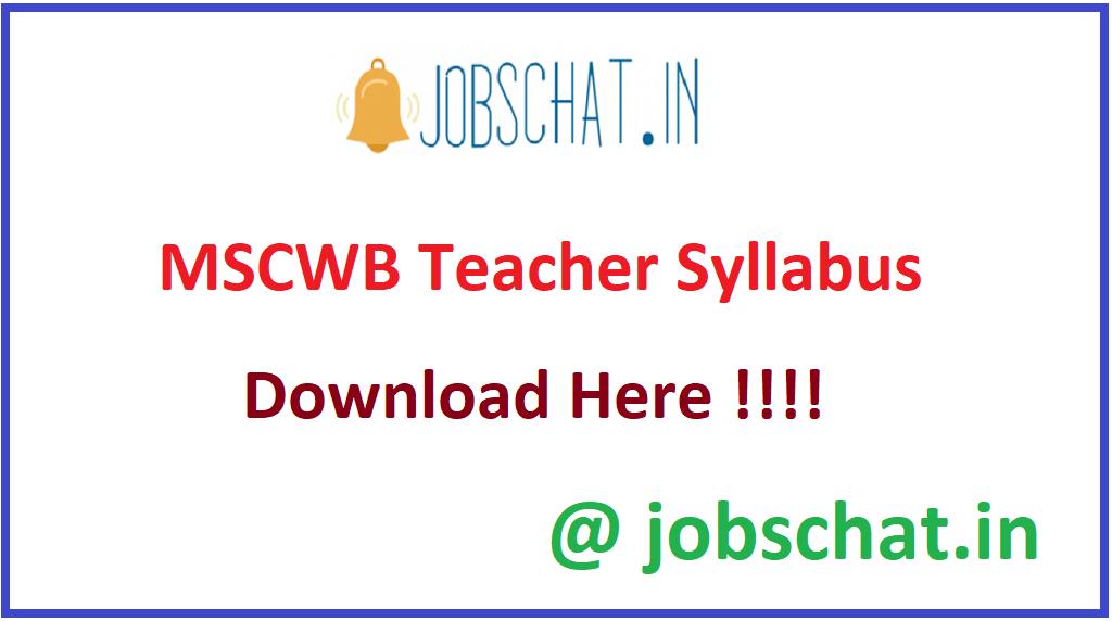 MSCWB Teacher Syllabus