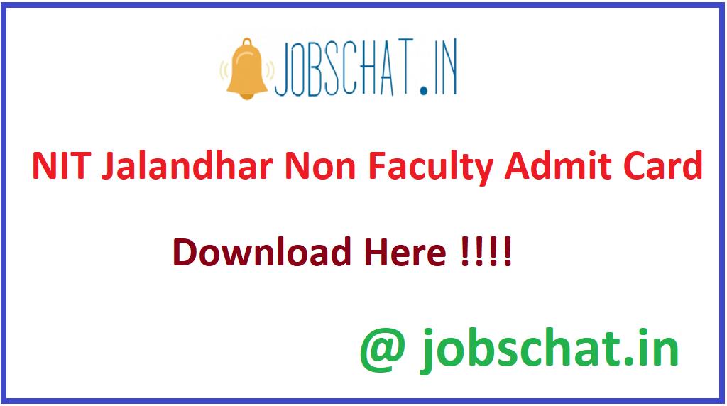 NIT Jalandhar Non Faculty Admit Card