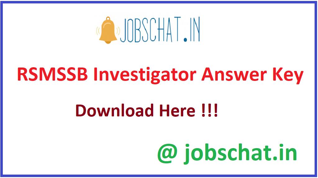 RSMSSB Investigator Answer Key