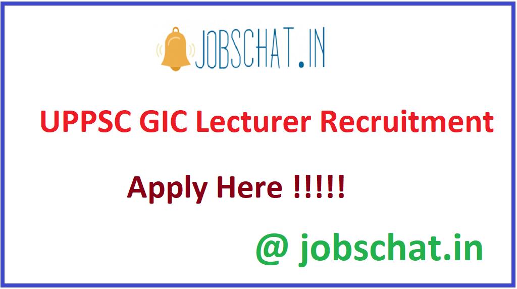 UPPSC GIC Lecturer Recruitment