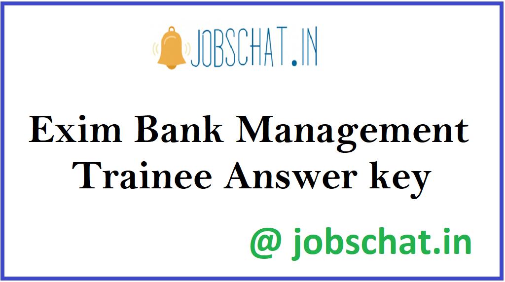 Exim Bank Management Trainee Answer key
