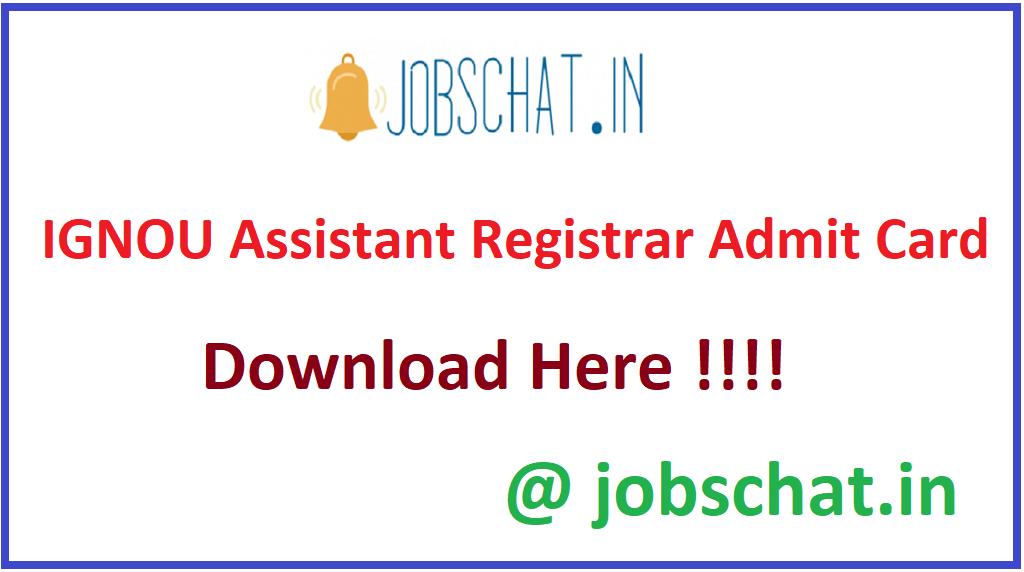 IGNOU Assistant Registrar Admit Card