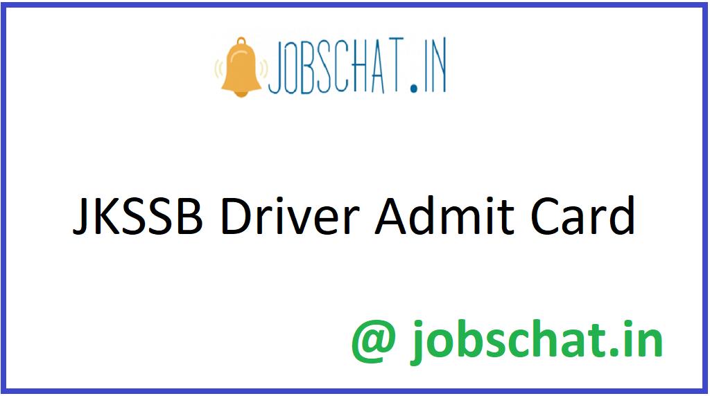 JKSSB Driver Admit Card