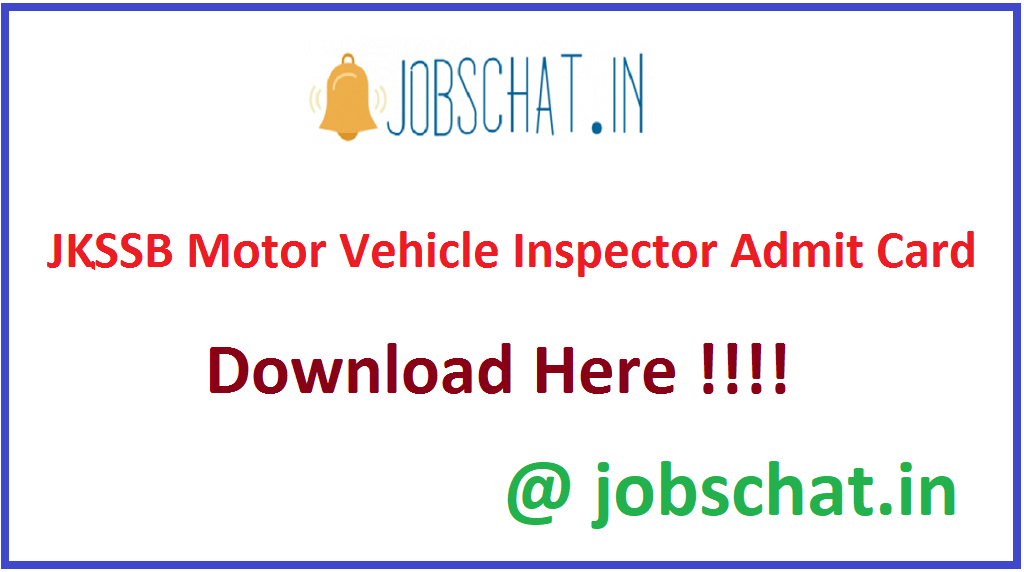 JKSSB Motor Vehicle Inspector Admit Card