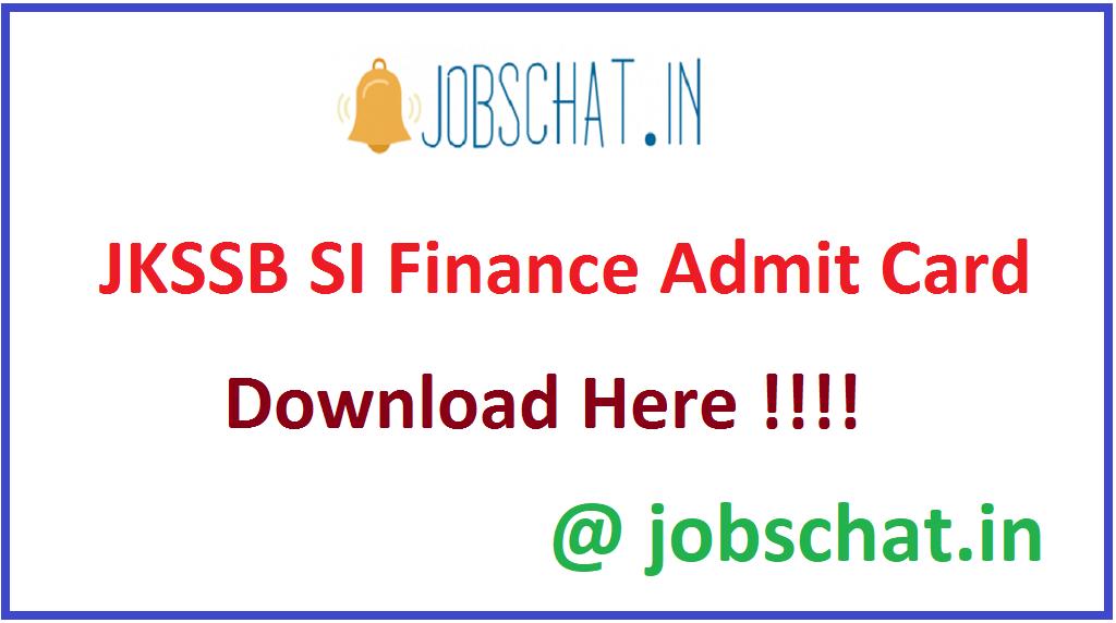 JKSSB SI Finance Admit Card 2021